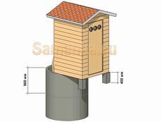 Дачный туалет на бетонных кольцах