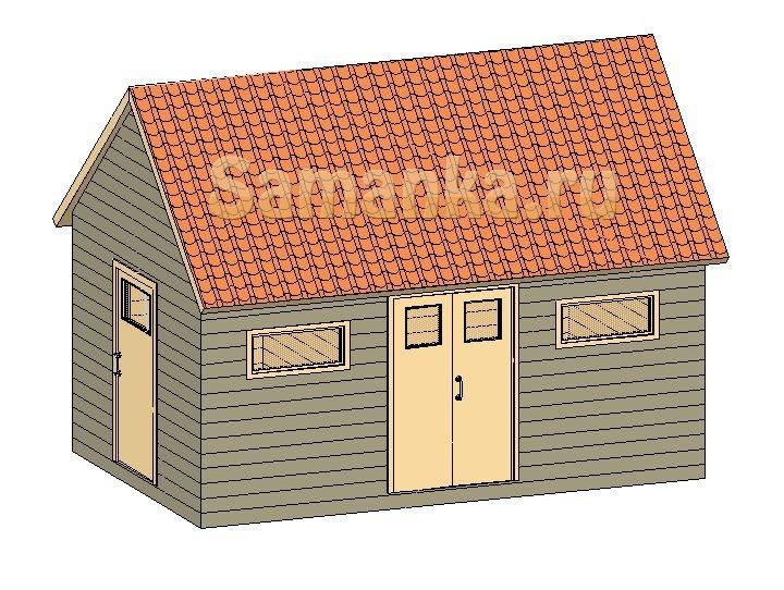 Сарай для дачи из двух помещений. Большее можно использовать как сарай для животных.