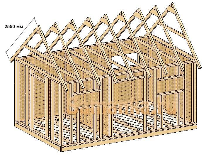 Крыша дачного сарая из доски 100х50 мм. Основание сарая из доски 100х50 мм.
