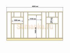 Схема сарая: размеры длинной стены сарая 4800х2475 мм