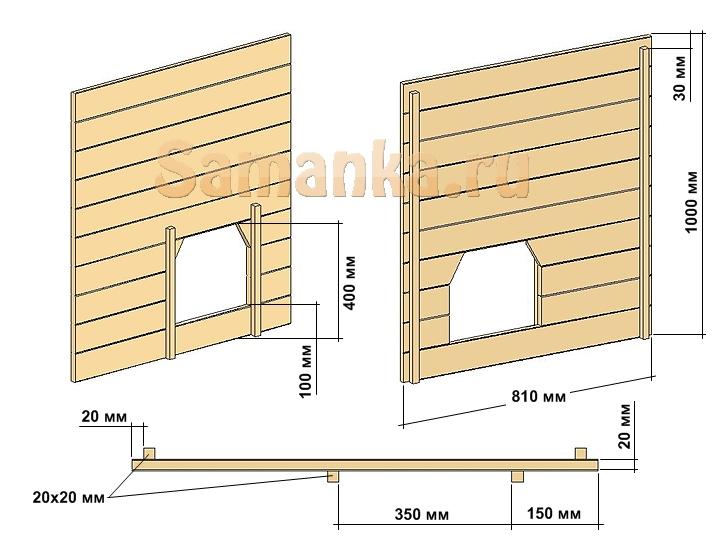 Размеры передней стенки будки