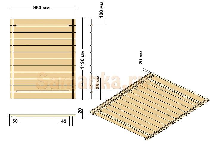 Схема будки для собаки, крыша