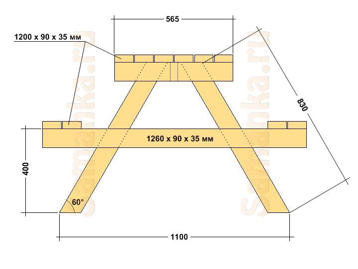 Схема садового стола - лавочки. Вид сбоку.
